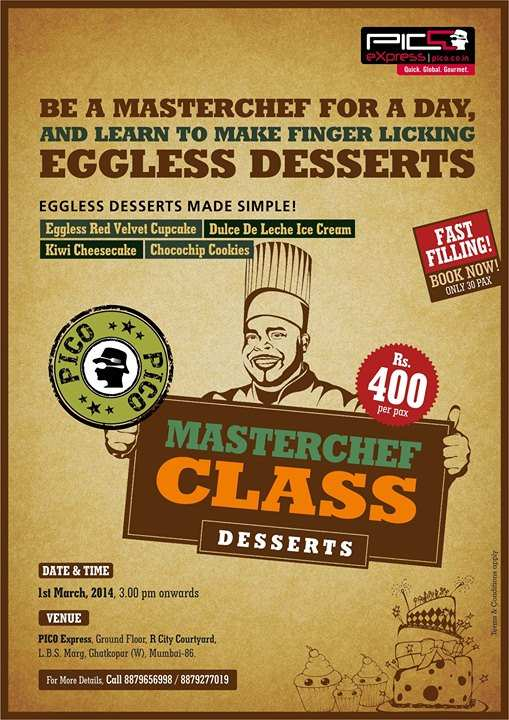 Cake Making Classes In Ghatkopar : Eggless Desserts made simple - MasterChef Class on 1 March ...