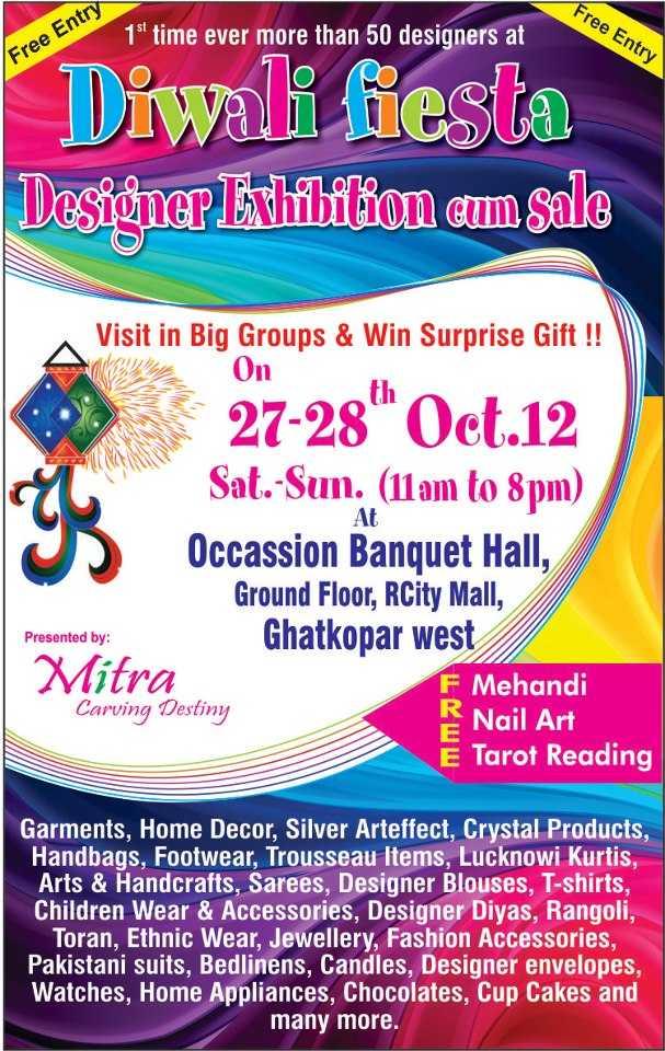 Diwali Fiesta Designer Exhibition Cum Sale On 27 And 28