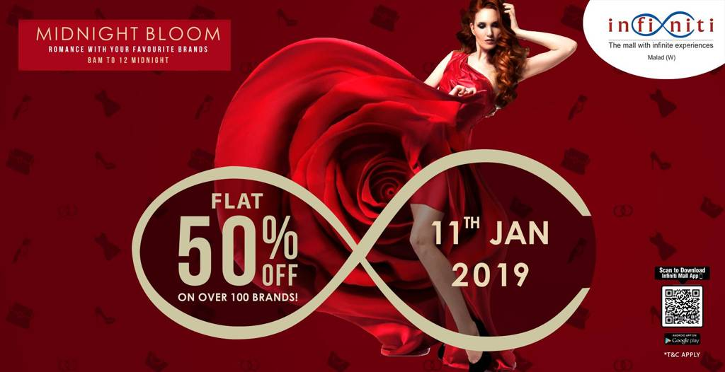 5351ae82 Flat 50% off Sale on over 100 Brands at Infiniti Mall Malad 11th January  2019