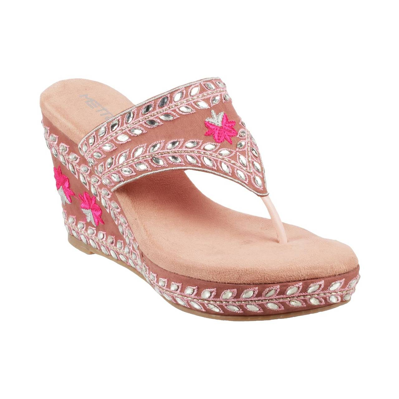 Metro Pink Ethnic Slip Ons