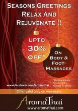 Christmas & New Years Offer - Upto 30% off on Body & Foot Massages. Offer valid only at AromaThai Foot Spa outlets in Mumbai & Pune