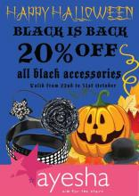 Halloween Offer - Black is Back, 20% off on all black accessories from 22 to 31 October 2012 at Ayesha Accessories Mumbai. Funk up your wardrobe this halloween with all-black accessories by Ayesha!