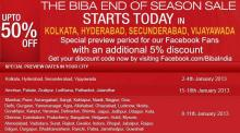 The BIBA End of Season Sale Special Preview for facebook fans additional 5% discount  from 8 to 11 January 2012