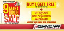Brand Factory Diwali Maha Bonus Sale from 4 to 12 November 2012  Buy 1 Get 1 Free* on 100 Best Brands, + Gift Vouchers + Bonus Payback Points + Amazing Gifts