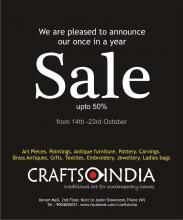 Sales in Thane, Mumbai - Upto 50% off sale from 14 to 23 October 2012 at Crafts India, Korum Mall, Thane