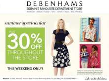 Enjoy a Summer Spectacular flat 30% off at the Debenhams India Store, only from 12th to 15th June, 2014 at Phoenix Marketcity, Kurla