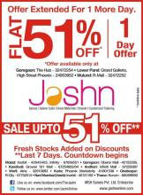 JASHN-FLAT 51% off:Extended for 1 more day (27 August 2012) at The Hub, Phoenix & R Mall. Fresh stocks pumped in huge quantity! Rush!