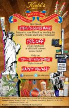 15% off friends & family Diwali discount on 10 & 11 November 2012 on all purchases at all Kiehl's stores in India