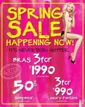 Spring Sale Happening Now at La Senza ! It's never been hotter. Bras for Rs.1990/- on selected styles, 50% off on Sleepwear on selected styles, 3 for Rs.990/- , Luxury Panties, on selected styles
