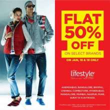Flat 50% off on select brands on 18 & 19 January 2014 at Lifestyle. Ahmedabad, Bangalore, Bhopal, Chennai, Coimbatore, Hyderabad, Mangalore, Mumbai, Nagpur, Pune, Surat & Vadodara