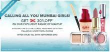 Cosmetics Deals in Mumbai - Get 30% off on the Exclusive range of Makeup at L'oreal Paris Make Up Studio, Palladium, Lower Parel till 30 September 2012