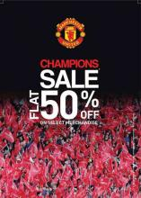 Manchester United Apparels Champions Sale, Flat 50% off on Select Merchandise at Manchester united, High Street Phoenix, Lower Parel