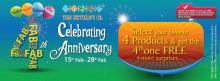 <strong>The Nature's Co</strong> 4th Anniversary offer - Select your favourite 4 Products & get the 4th one FREE + more surprises. Valid from 15 to 28 Feb 2013
