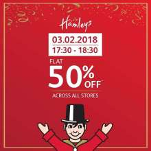 Hamleys Happy Hour - Flat 50% off across all stores  3rd February 2018