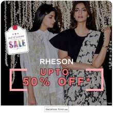Rheson to celebrate - up to 50% off online & in stores at Shoppers Stop