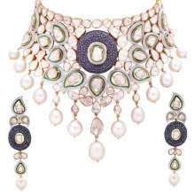 Necklace Set by ANMOL crafted in 18 K gold and set with blue sapphires, pearls, uncut diamonds and round brilliant diamonds