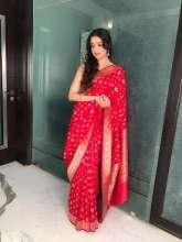 Actress Divya Khosla Kumarin Vidhi Singhania Saree forArpita Khan Diwali Party