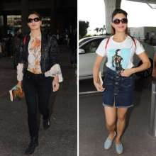 Jacqueline spotted at the airport wearing Cover Story top.