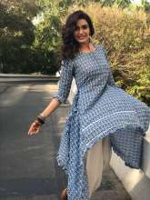 Actress Karishma Tanna being ethnic in outfit by Musk Meadows
