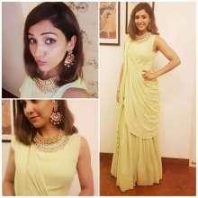 Gorgeous singer Neeti Mohan wearingKALKIFashion and Aquamarine jewelleryfor an event.
