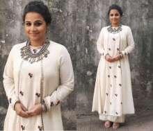 Actress Vidya Balan wearing Purvi Doshi for a TV show for Kahaani 2 promotions