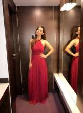 Actress Sana Khan wearing a stunning Gown by Nandita Thirani during Movie promotions at Indore