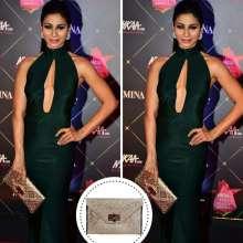 Stunning Tanishaa Mukerji Parul J Maurya gown and Ziniosa Clutch at Nykaa Awards