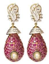 Drop Earrings crafted in 18k gold with polki, fine cut diamonds, brilliance diamonds, and semi precious stones by Tanya Rastogi for Lala Jugal Kishore Jewellers